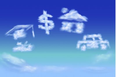 financial goals in clouds: college, money, house, car